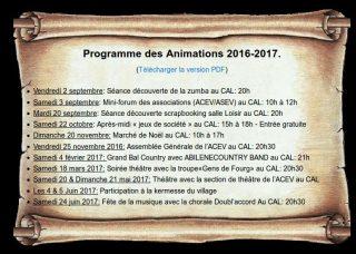 Programme de rentrée 2016/2017 de l'ACEV